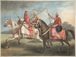 Three Sikh sirdars on horseback